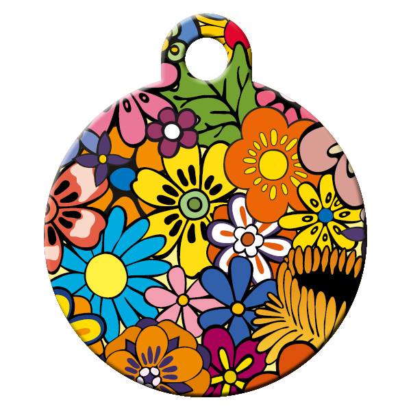 floral pattern dog id tag