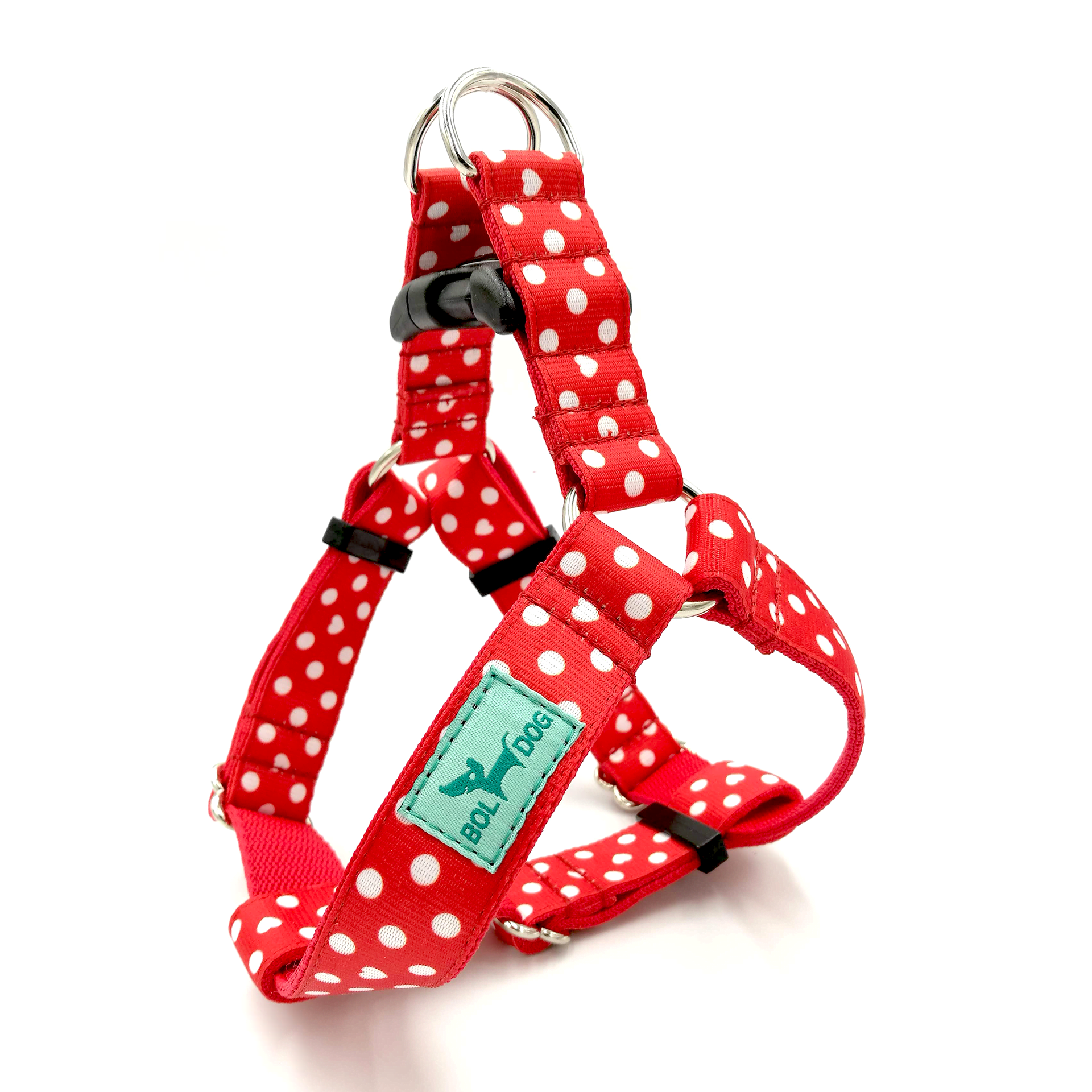 Red polka dots dog harness