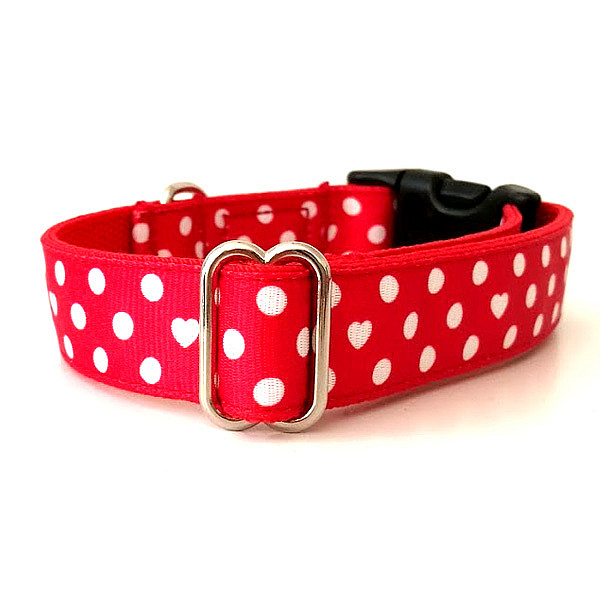Red polka dots dog collar