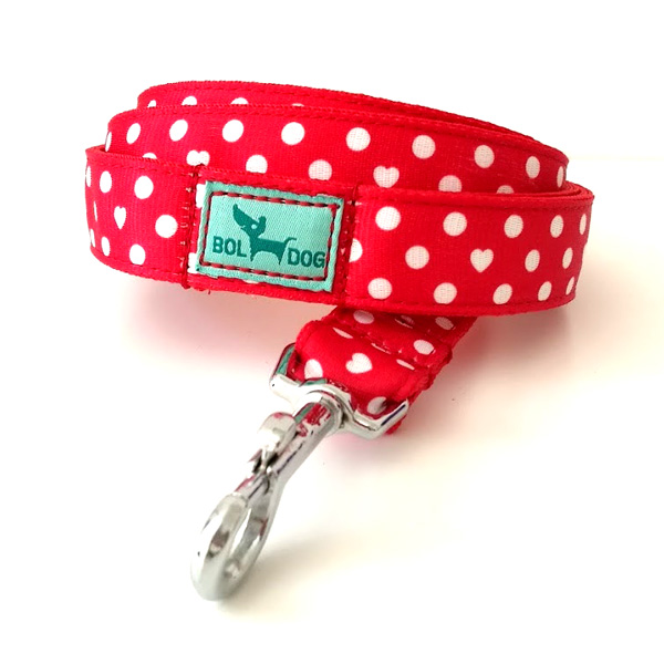 Red polka dots dog leash