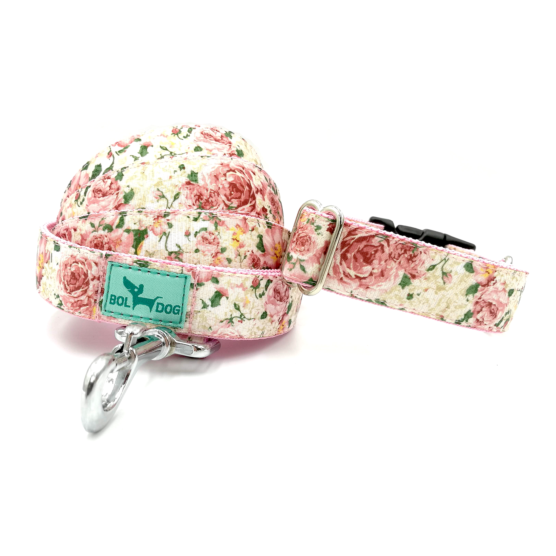 rose pattern dog collar and leash