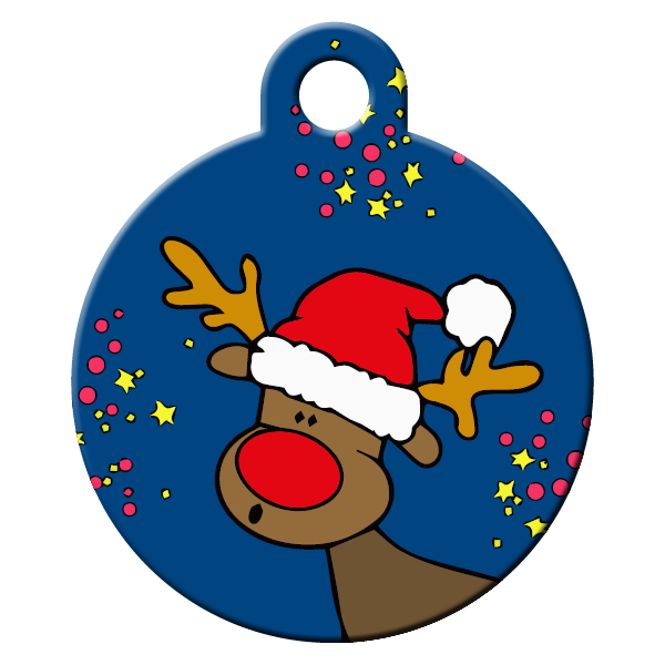 Rudolph blue dog id tag
