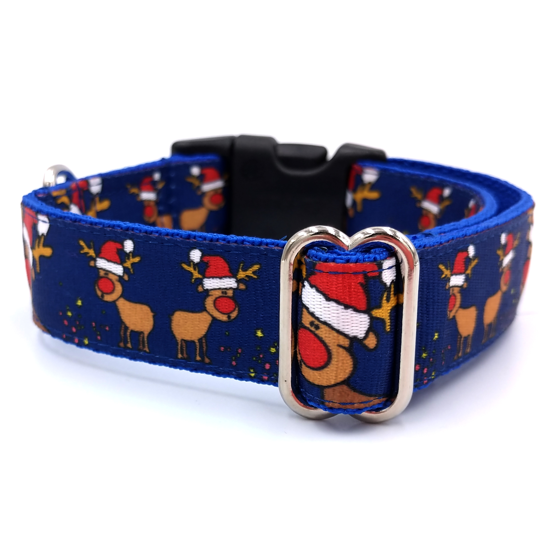 Rudolph blue dog collar