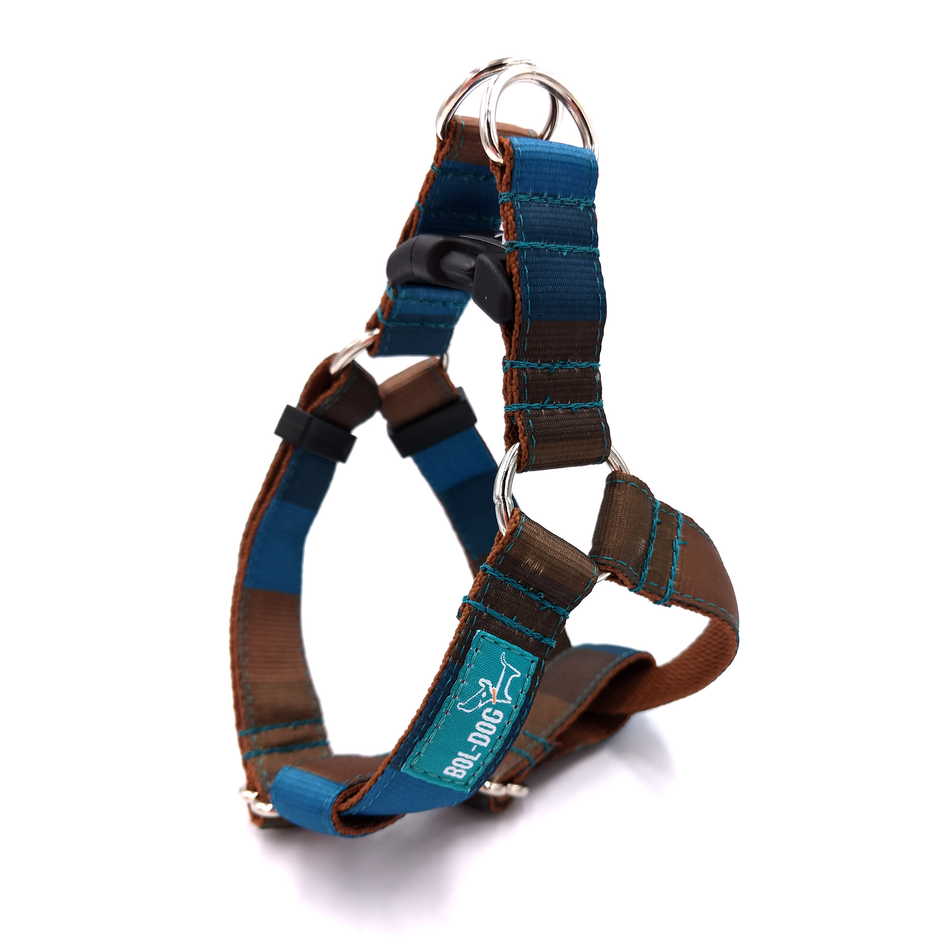 Brownblue dog harness