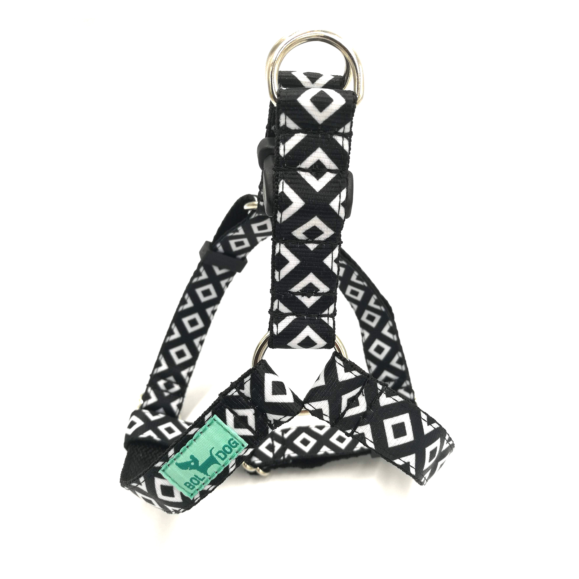 black and white harness