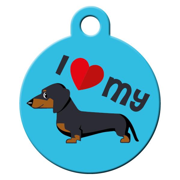 Dachshund blue dog ID tag