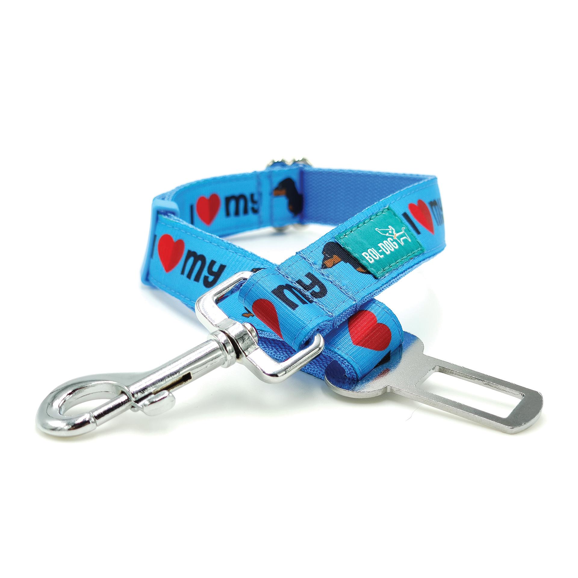 Dachshund blue safety belt