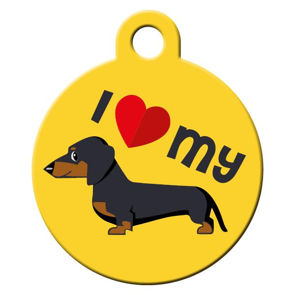 Dachshund yellow dog ID tag