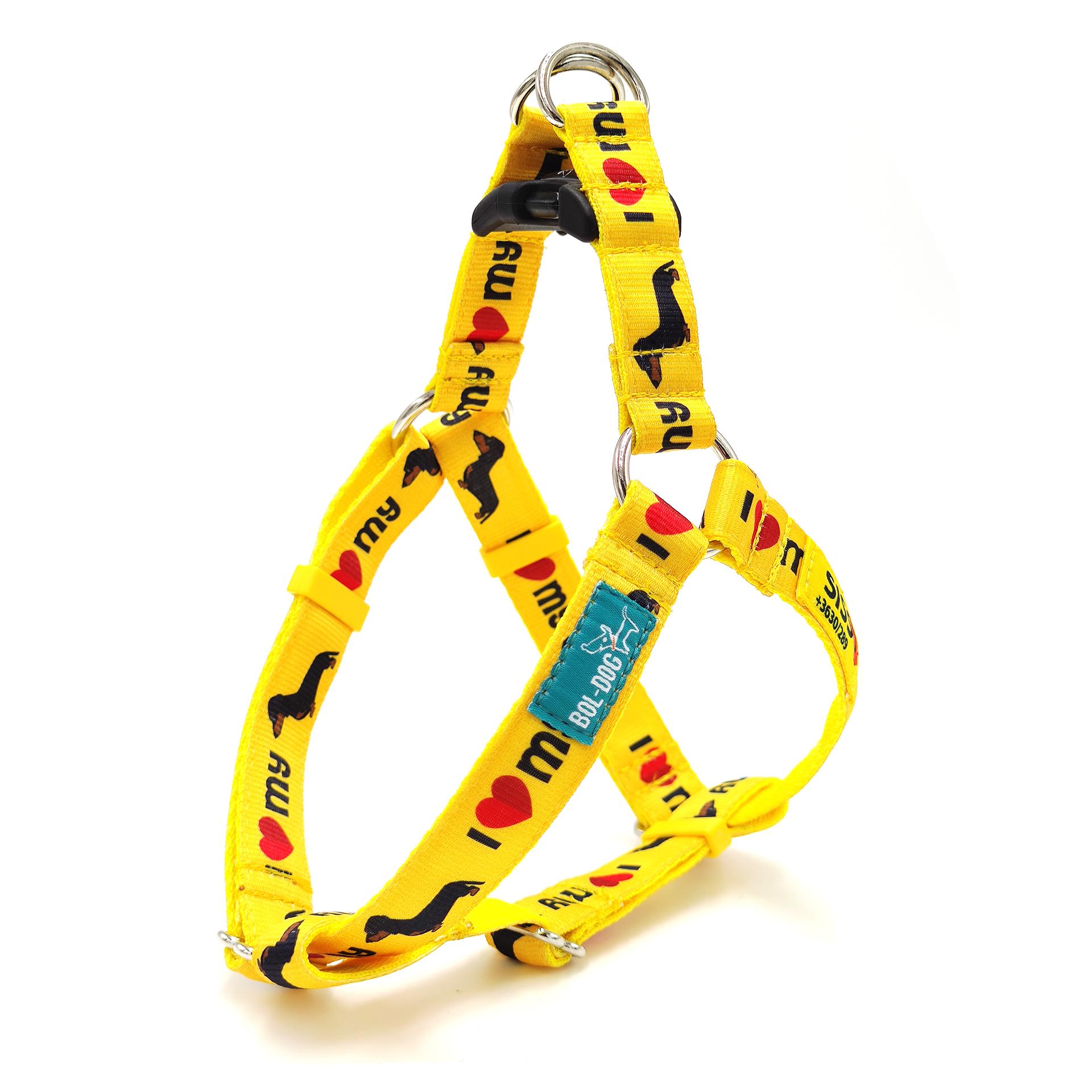 Dachshund yellow dog harness