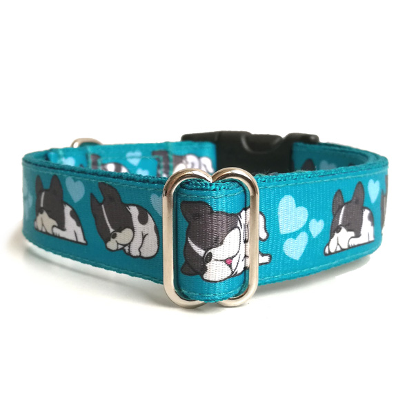 Sleepy blue dog collar