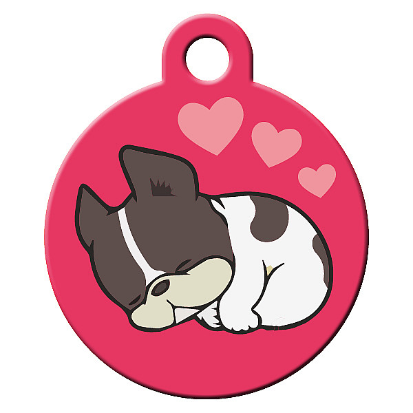Sleepy pink dog ID tag