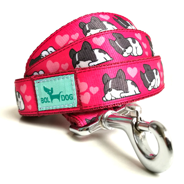 Sleepy pink dog leash