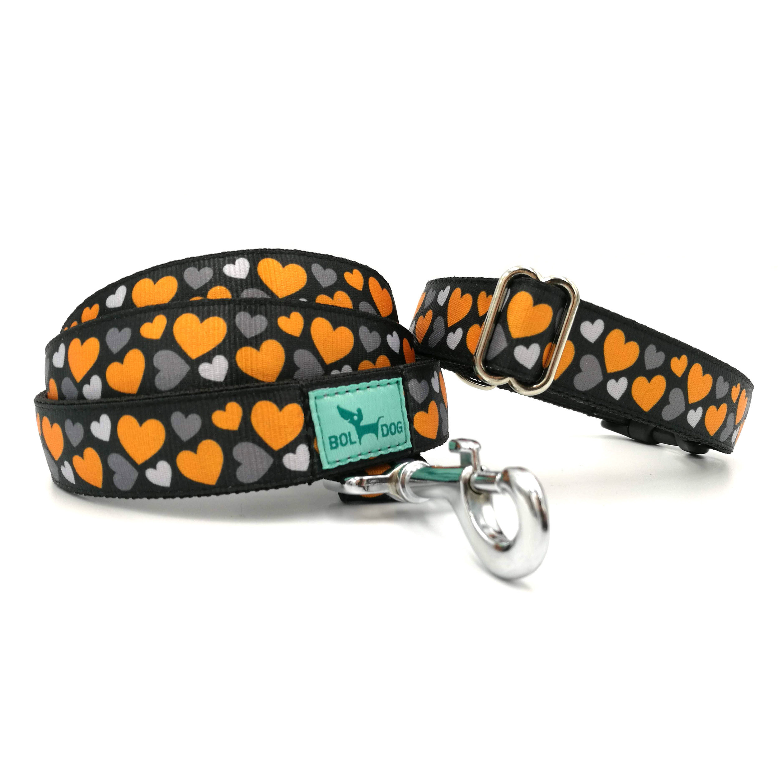 heart patterned dog leash and collar sets