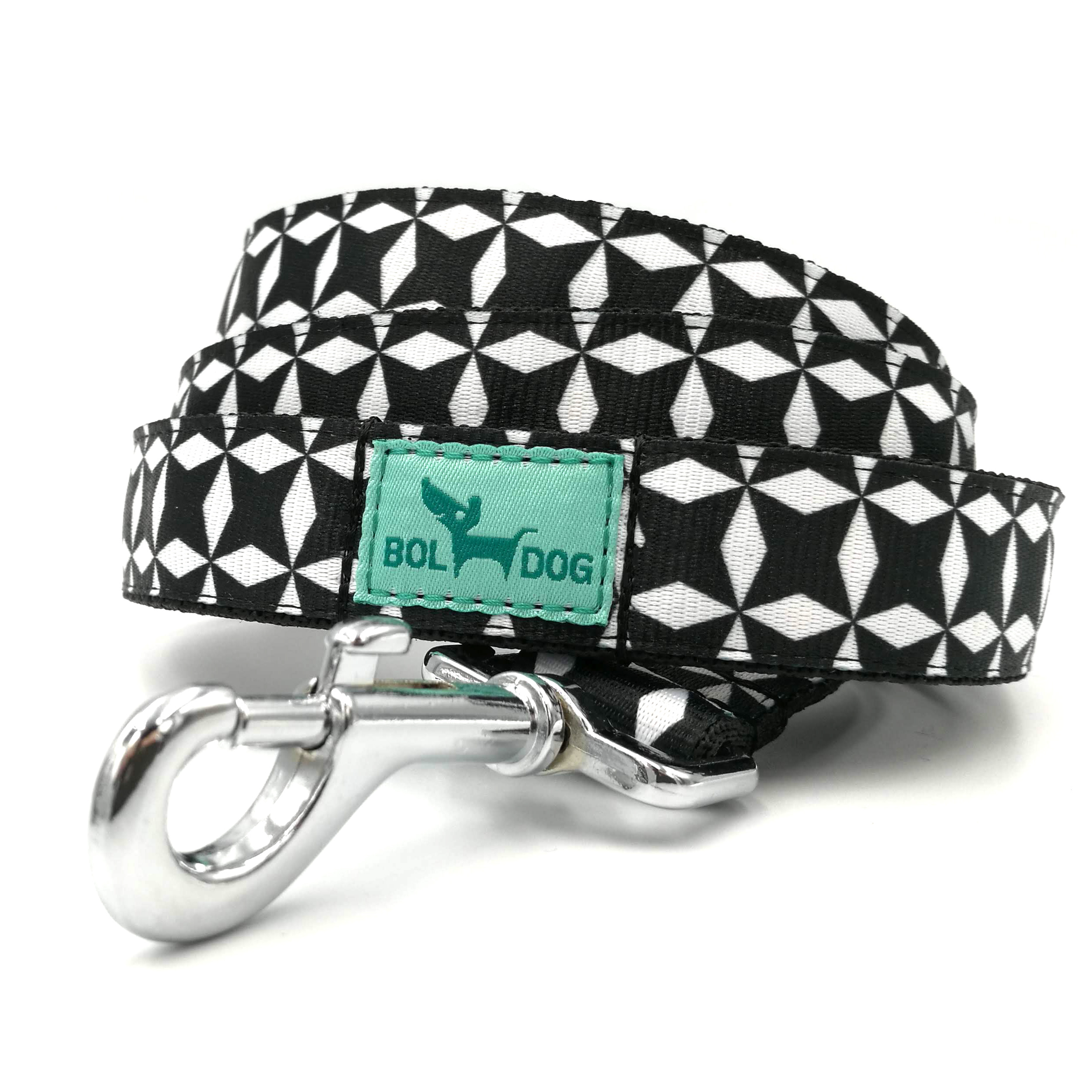 Black and white checked patterned dog leash