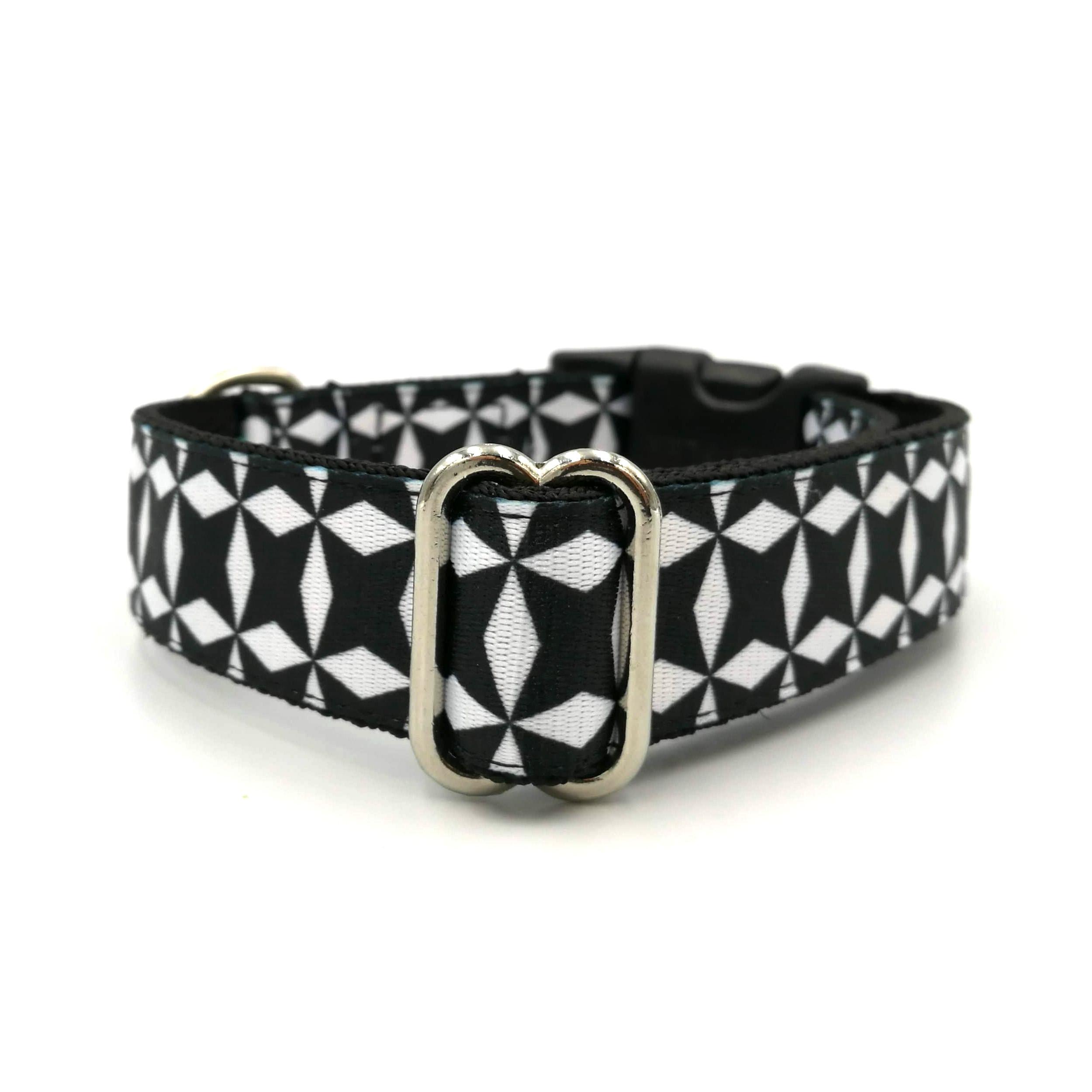 fekete fehér pepita mintás Bol-Dog kutya nyakörv