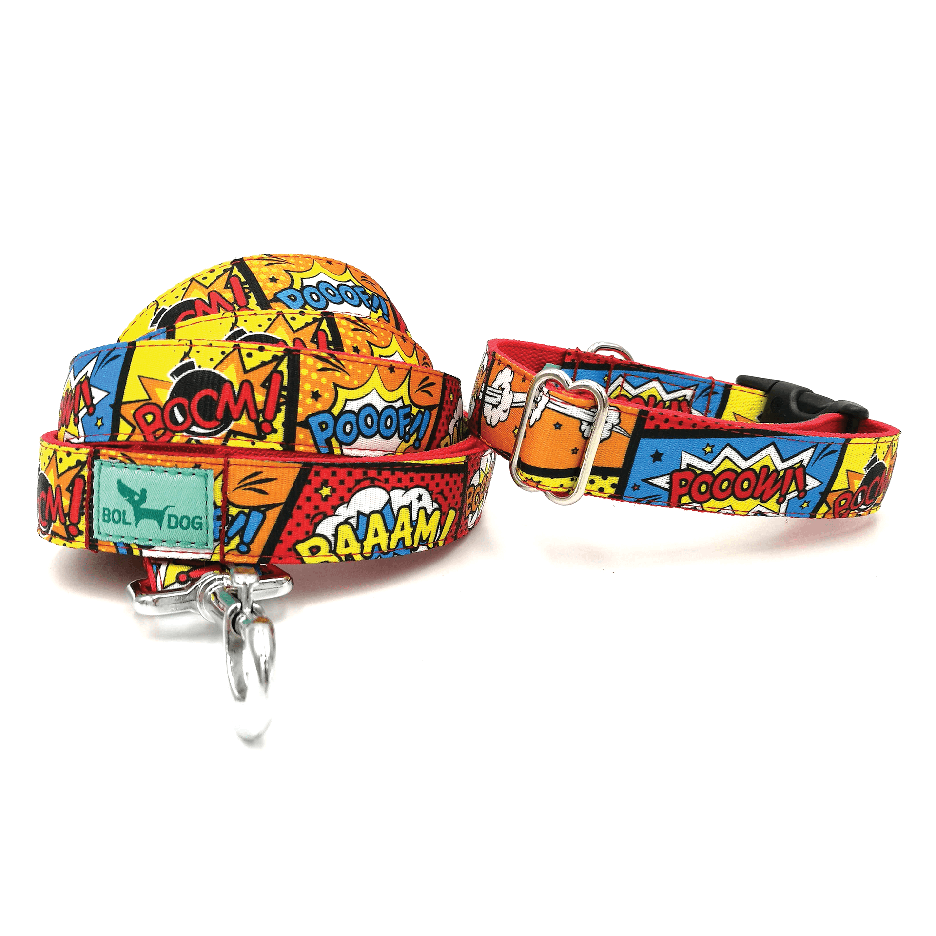 cartoon pattern textile dog collar and leash