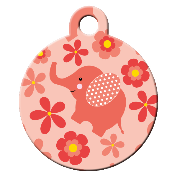 Elephant pattern dog id tag