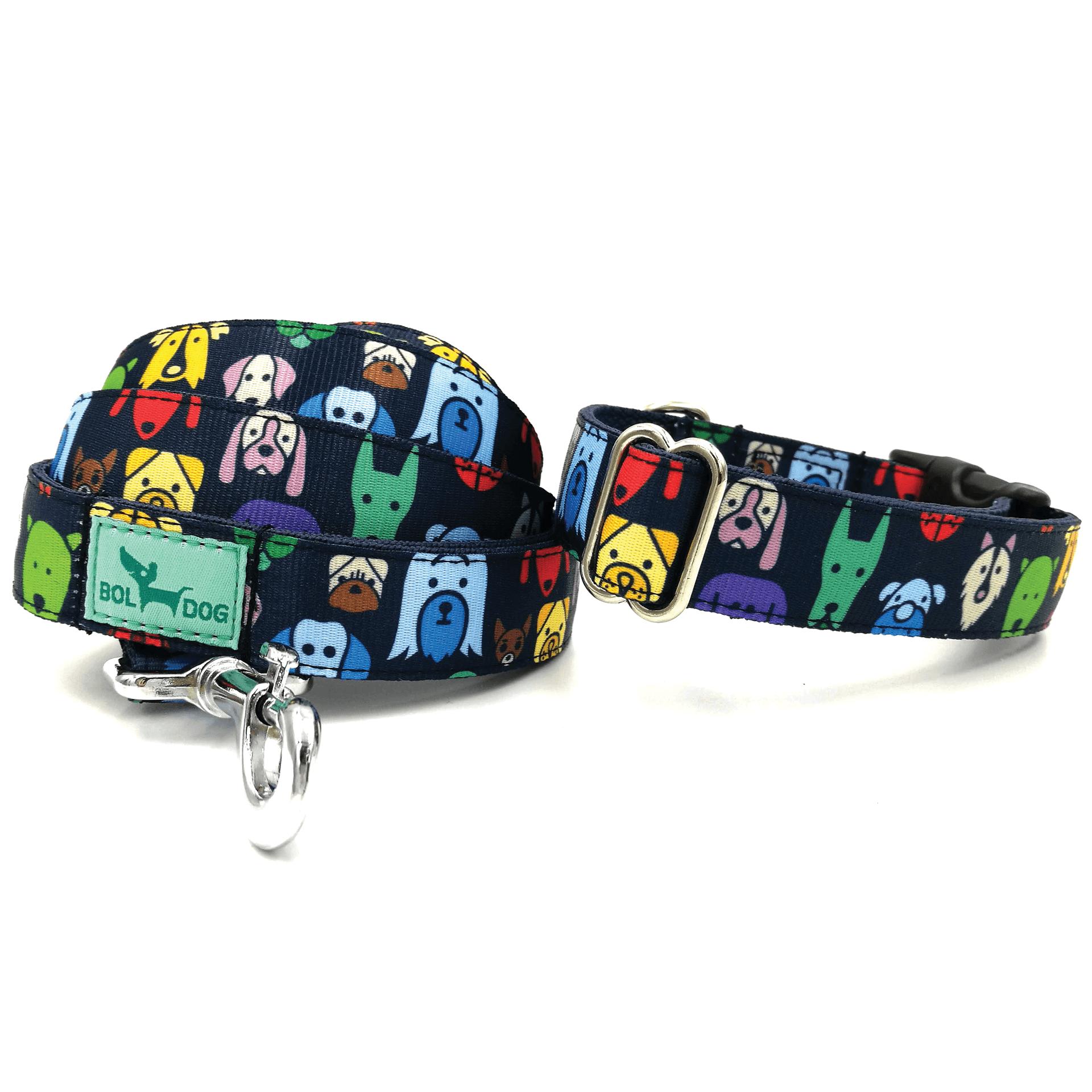 Kutya figurás Bol_Dog műanyag csatos textil kutya nyakörv és póráz