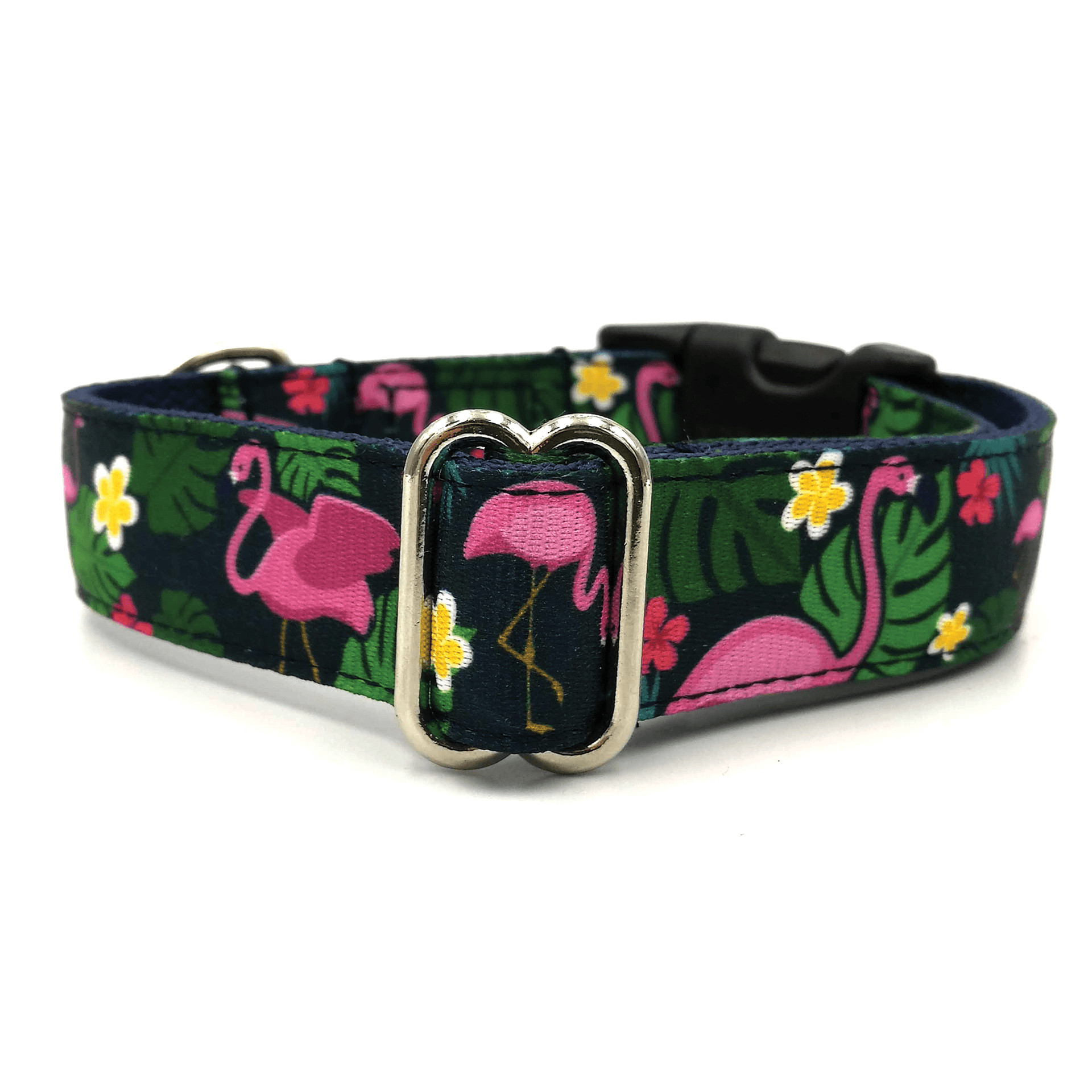 Flamingo dark blue dog collar
