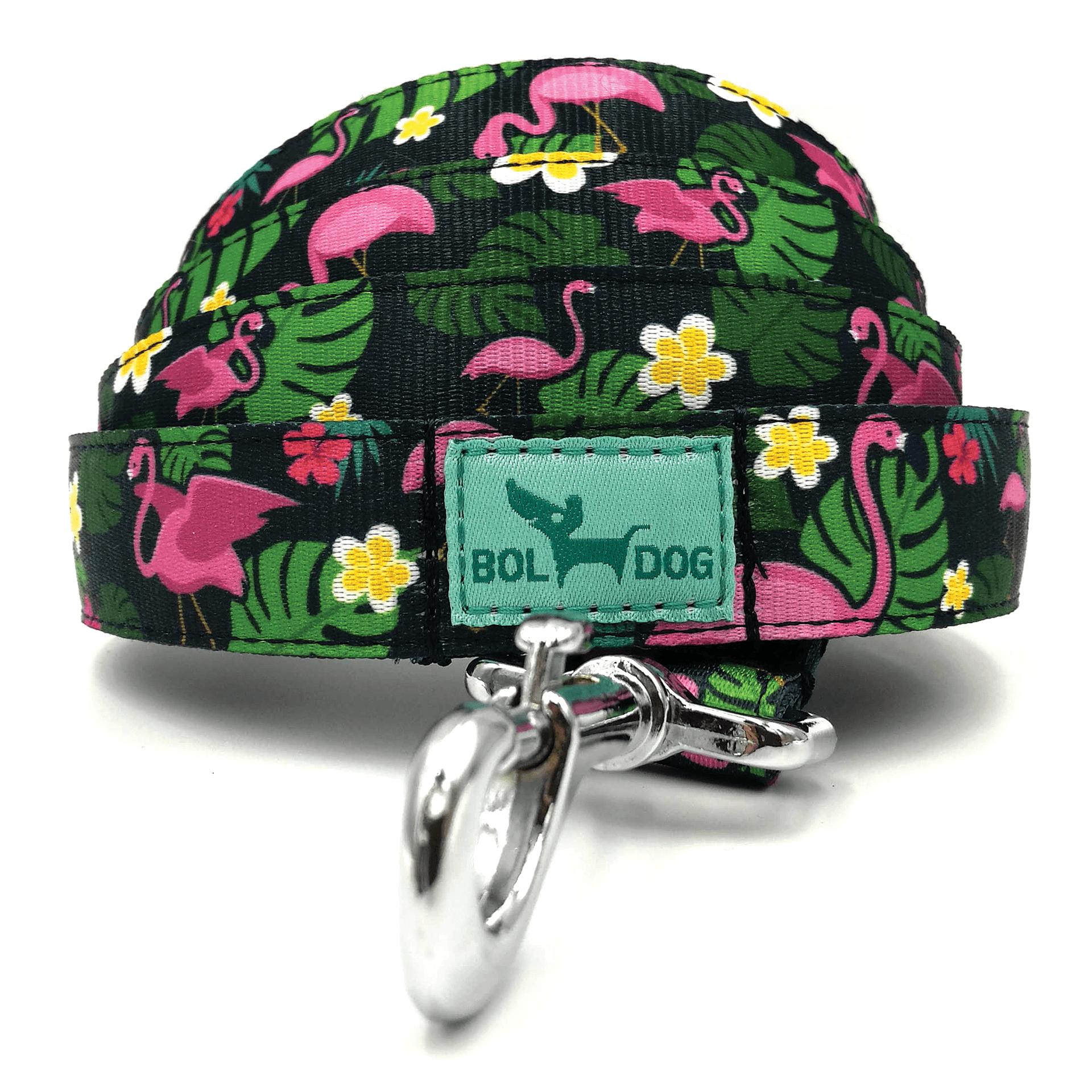 flamingo mintás textil kutya póráz bol-dog