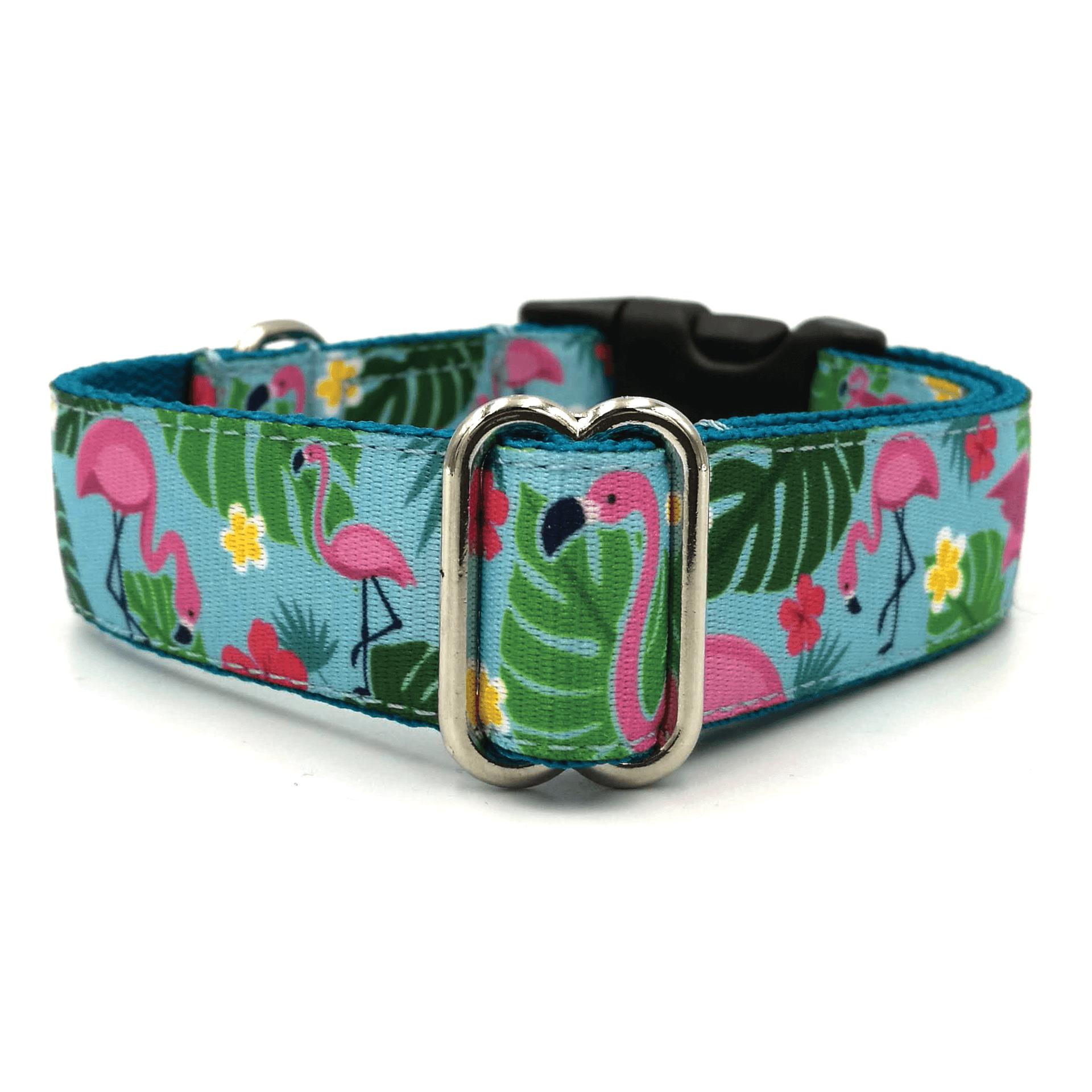 Flamingo light blue dog collar