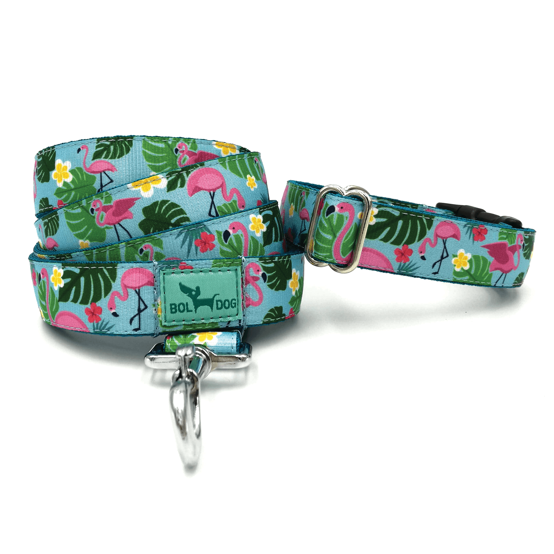 flamingo pattern dog collar and leash set