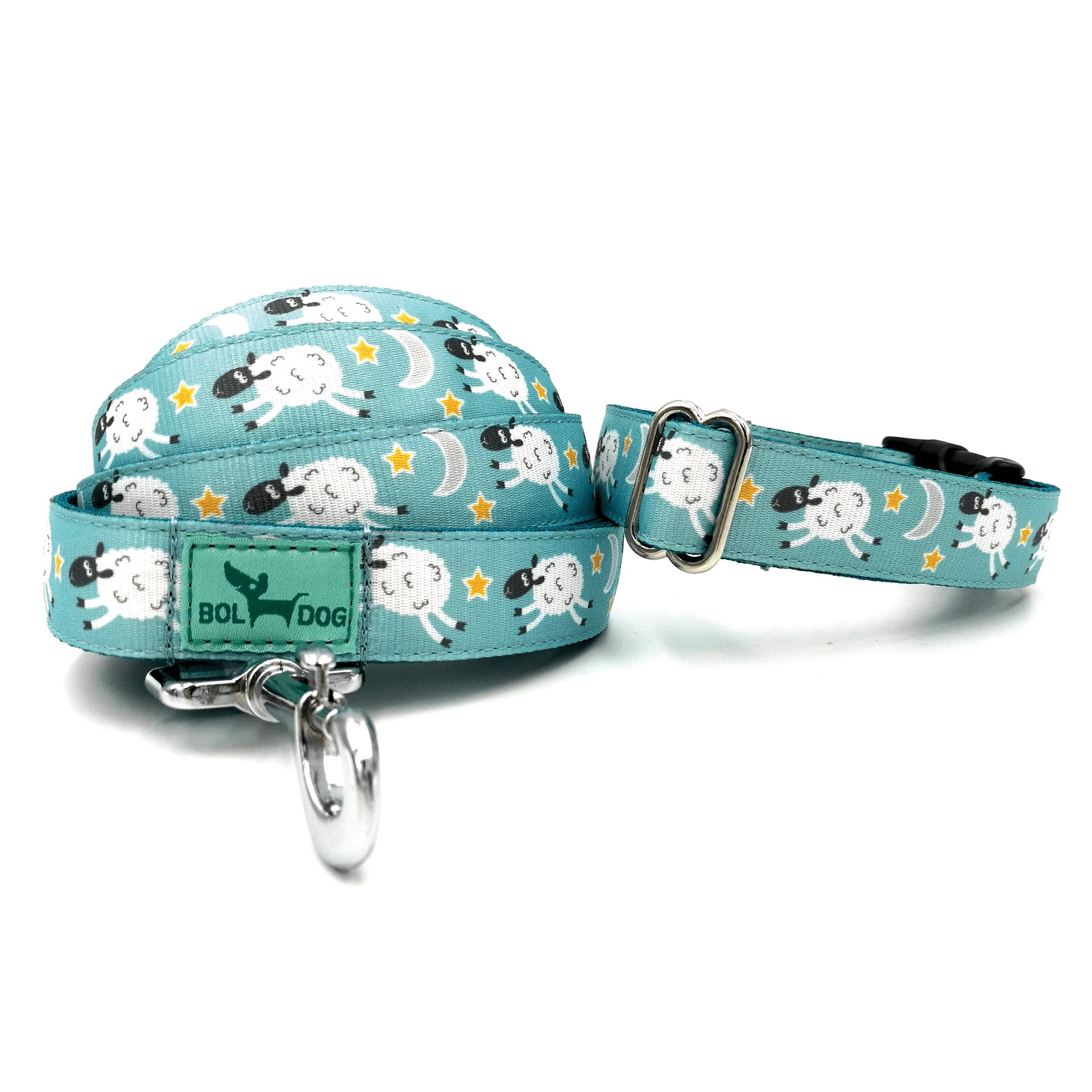 sheep pattern dog collar and leash