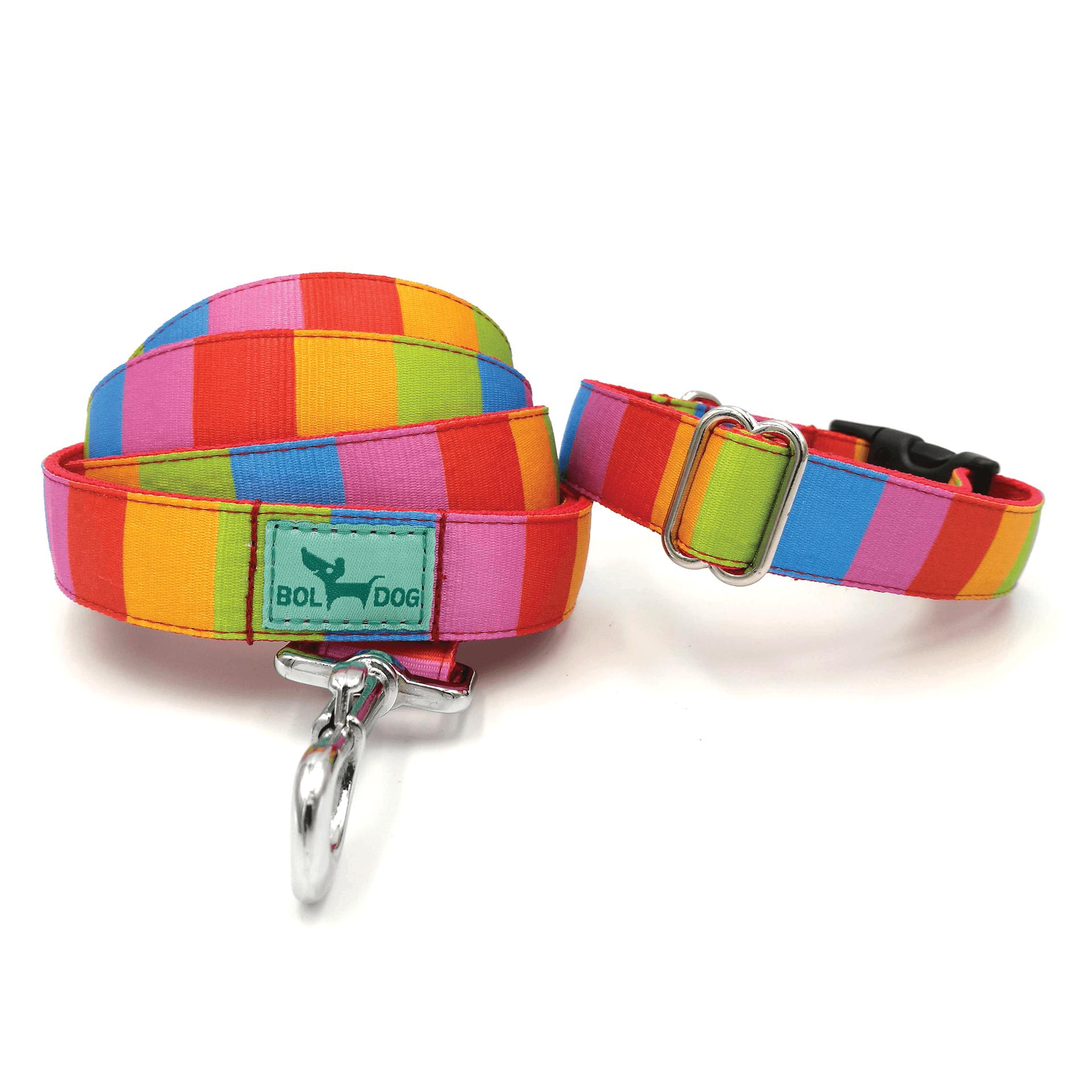 színes csíkos textil kutya nyakörv és póráz szett