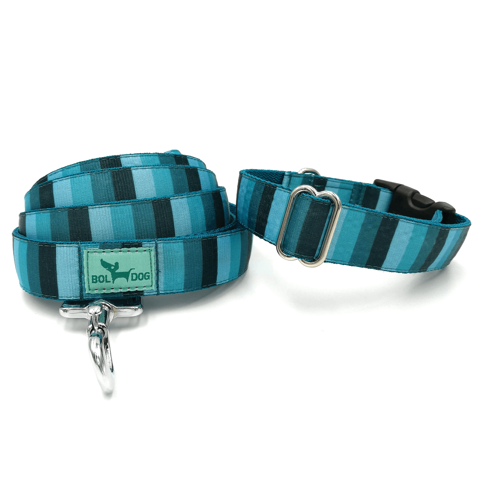 blue striped patterned dog collar and leash set