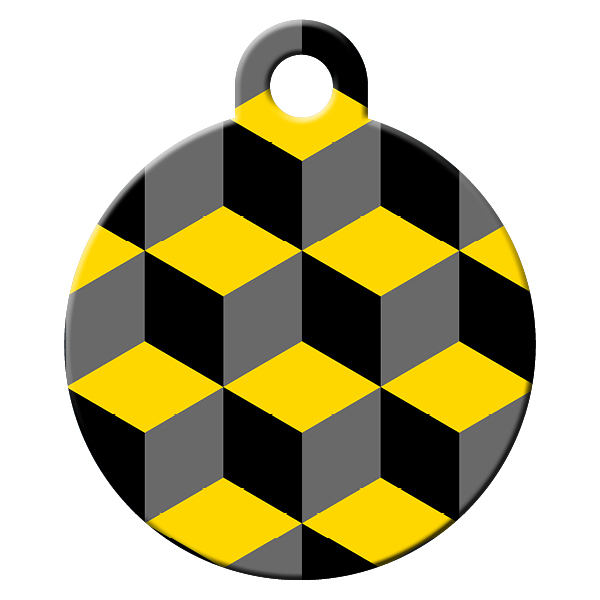 cube pattern dog id tag