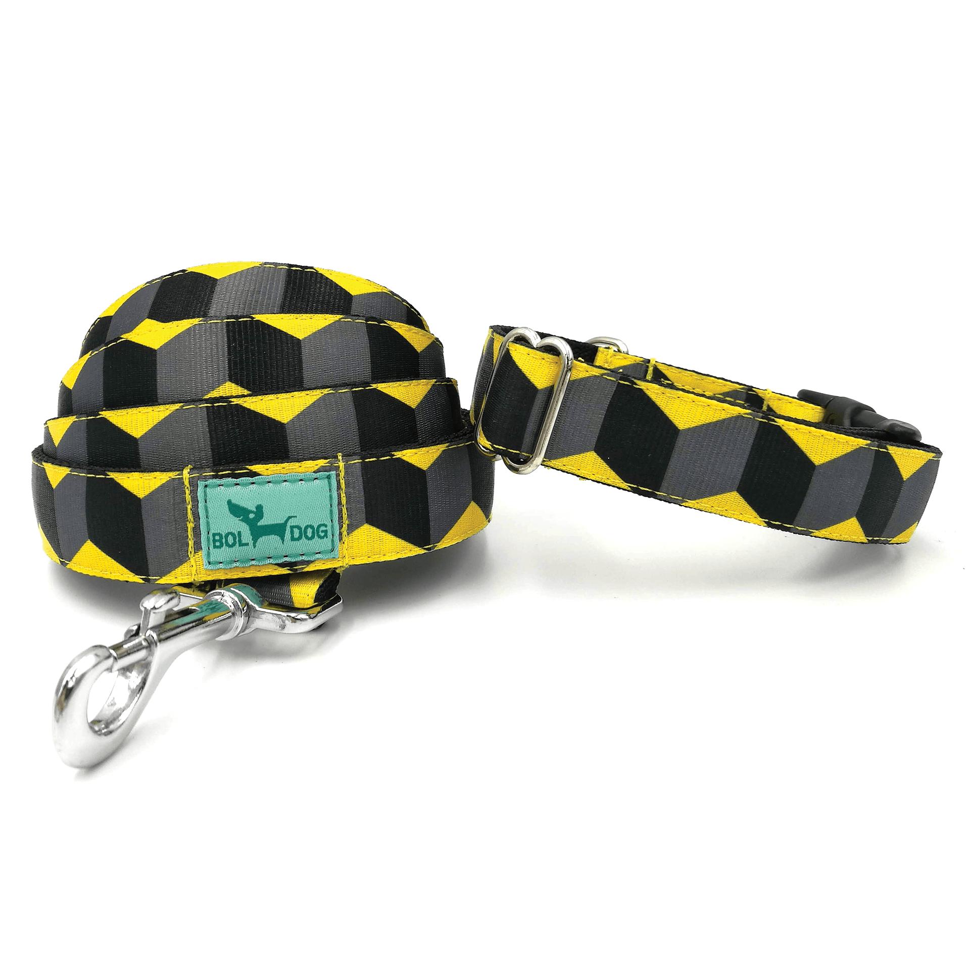 Kocka mintás sárga, fekete textil kutya nyakörv és póráz szett Bol-Dog