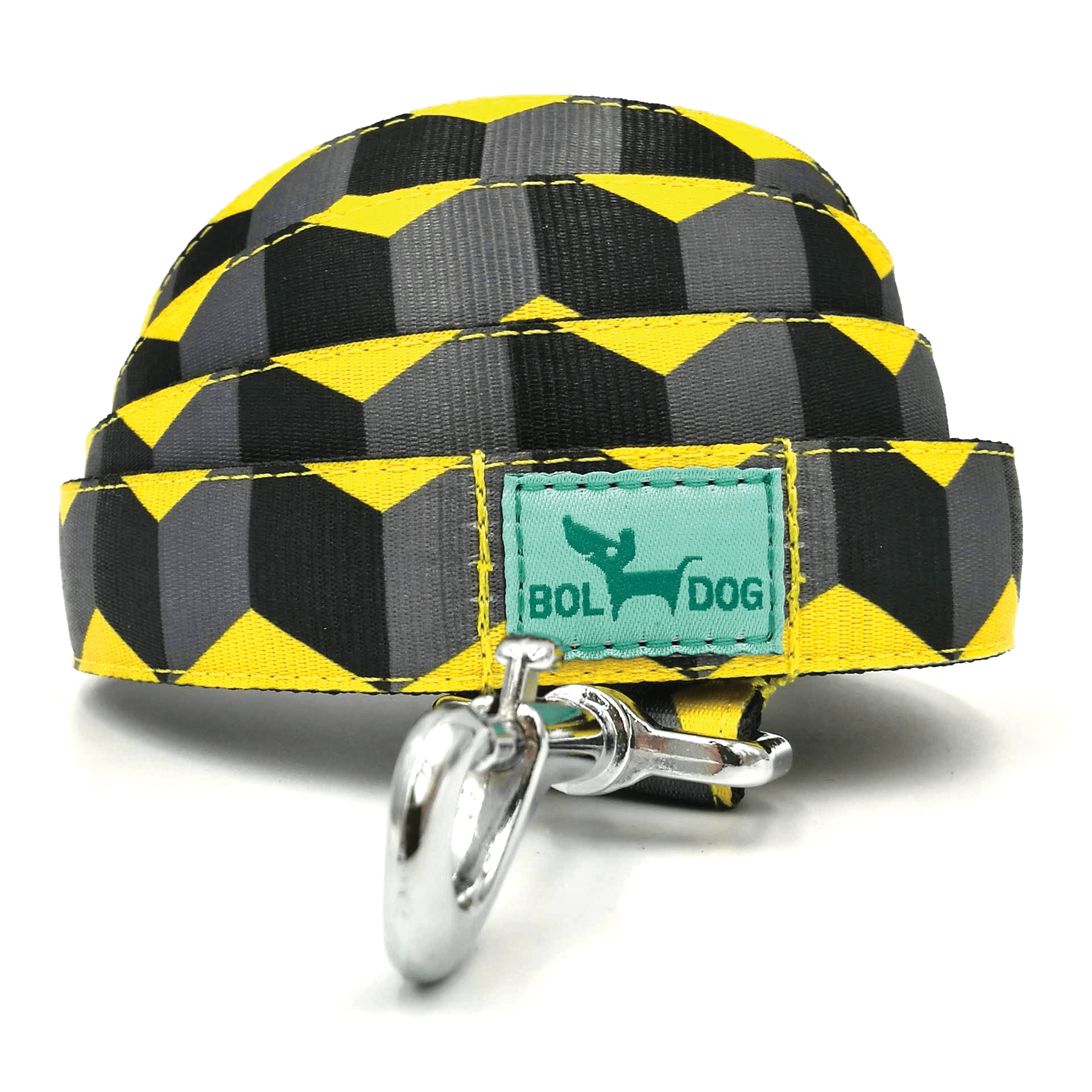 Kocka mintás sárga, fekete textil kutya póráz