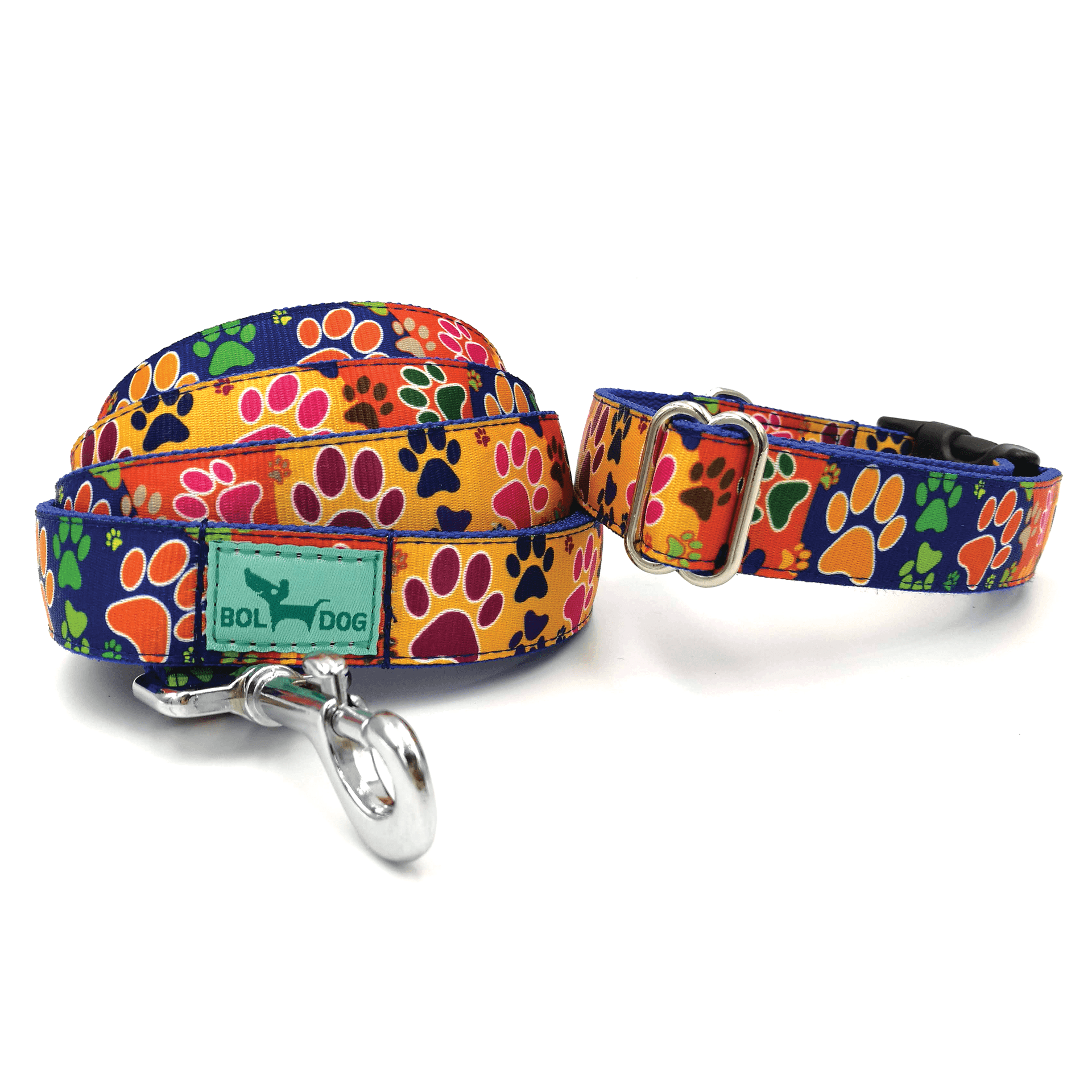 paws pattern dog leash and collar set