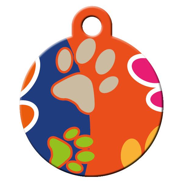 paws pattern dog id tag