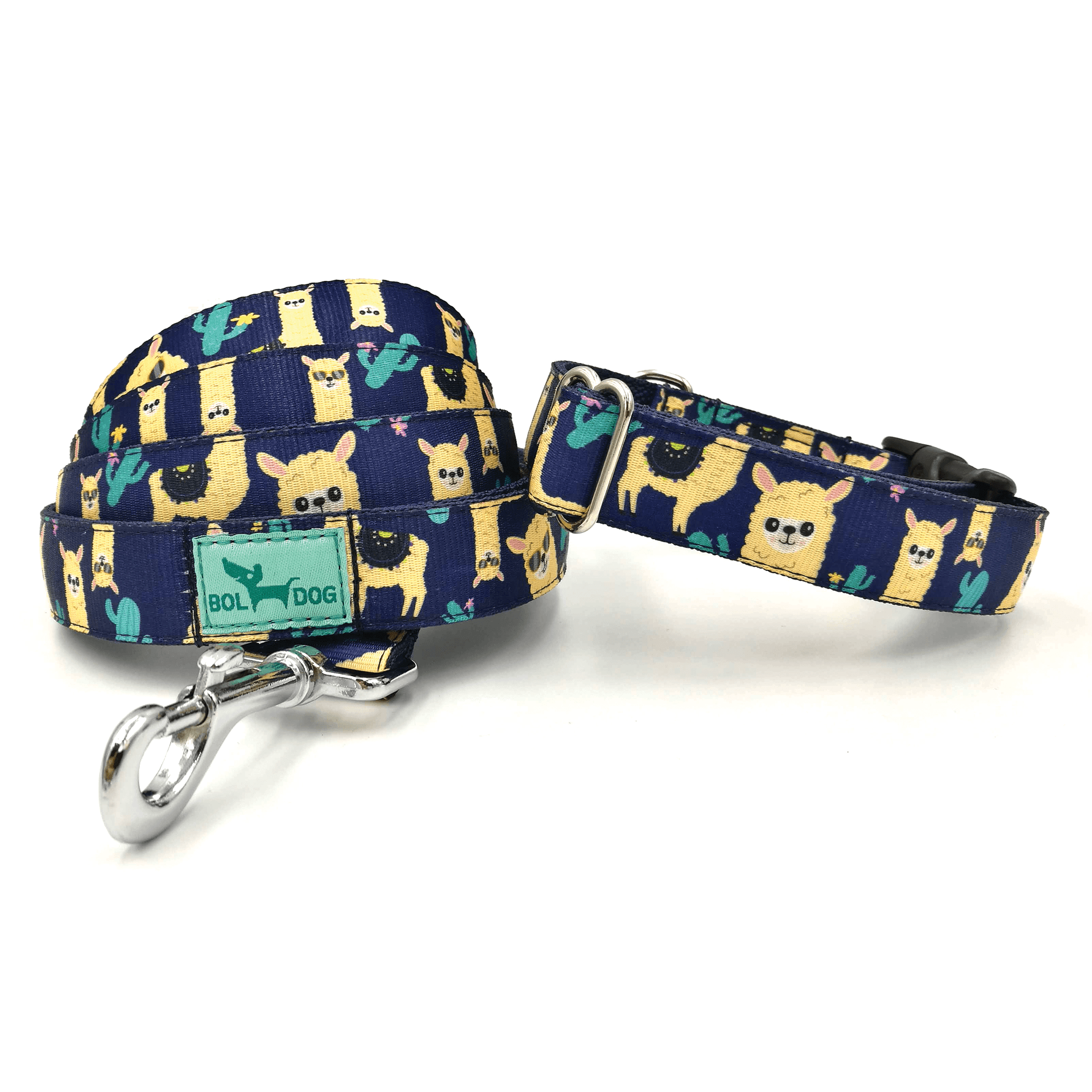 lama pattern dog textile collar and leash