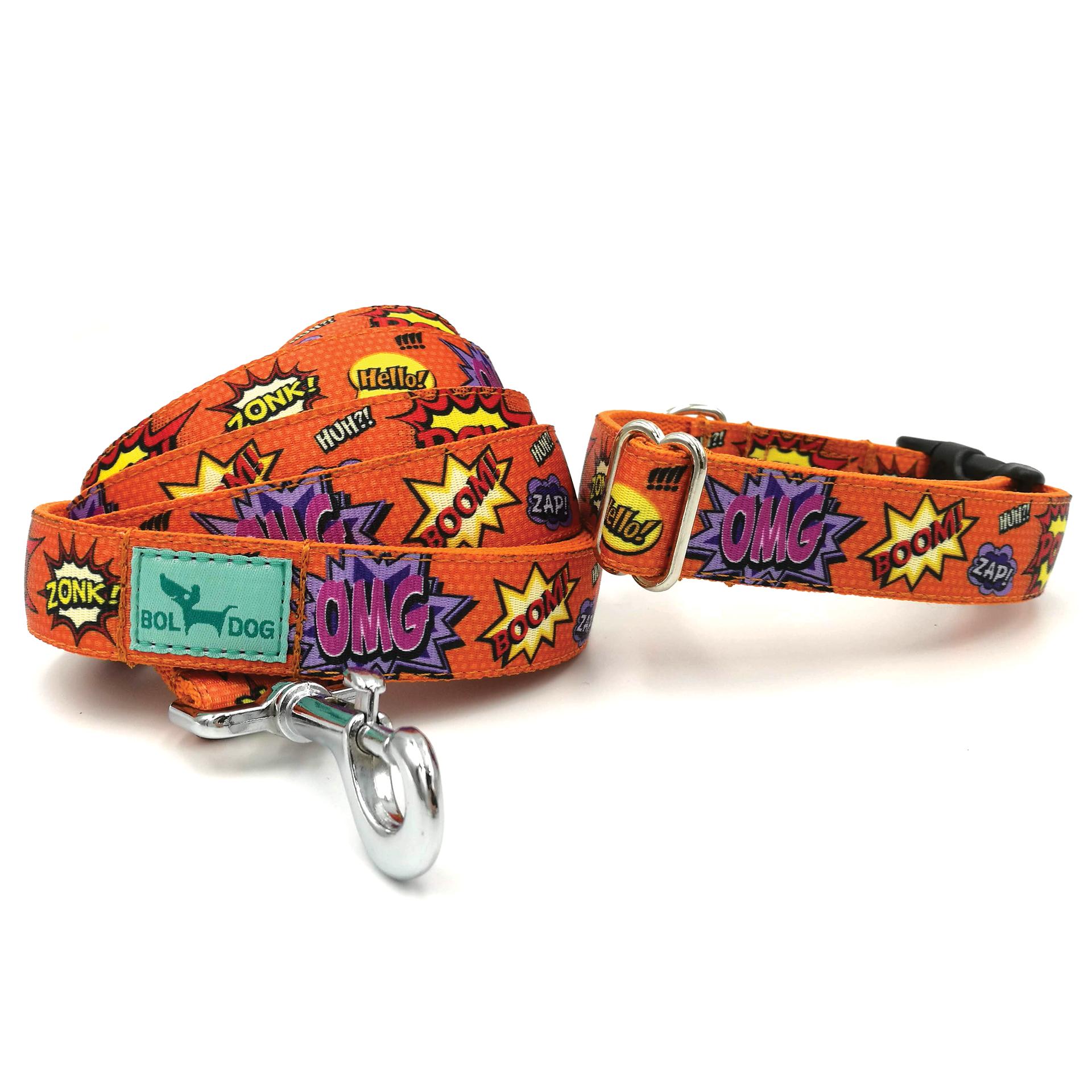 cartoon pattern textile dog collar and leash set