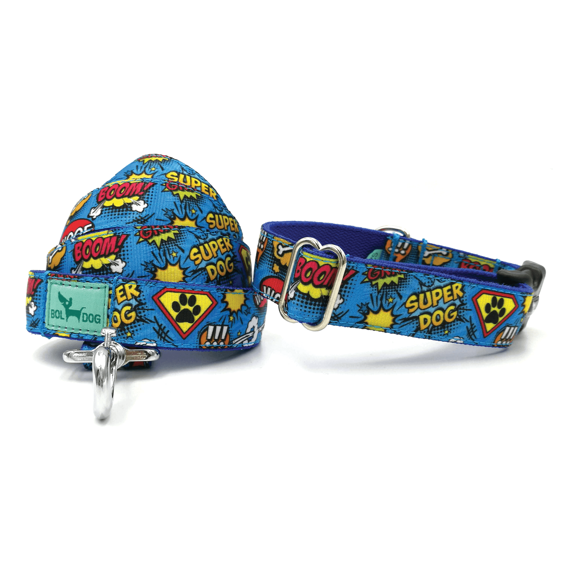 superdog pattern dog leash and collar set