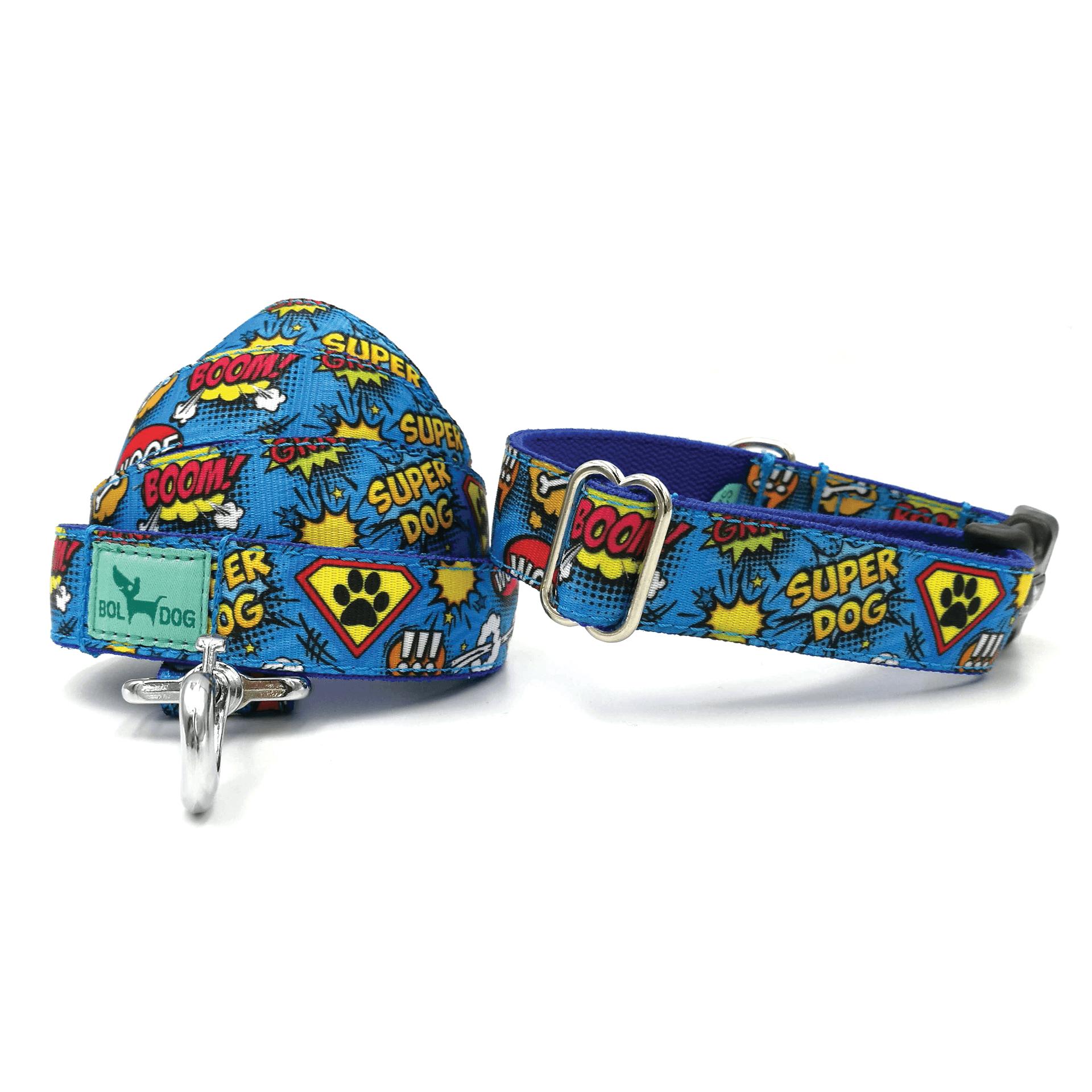 Superdog mintás textil kutya nyakörv és póráz szett