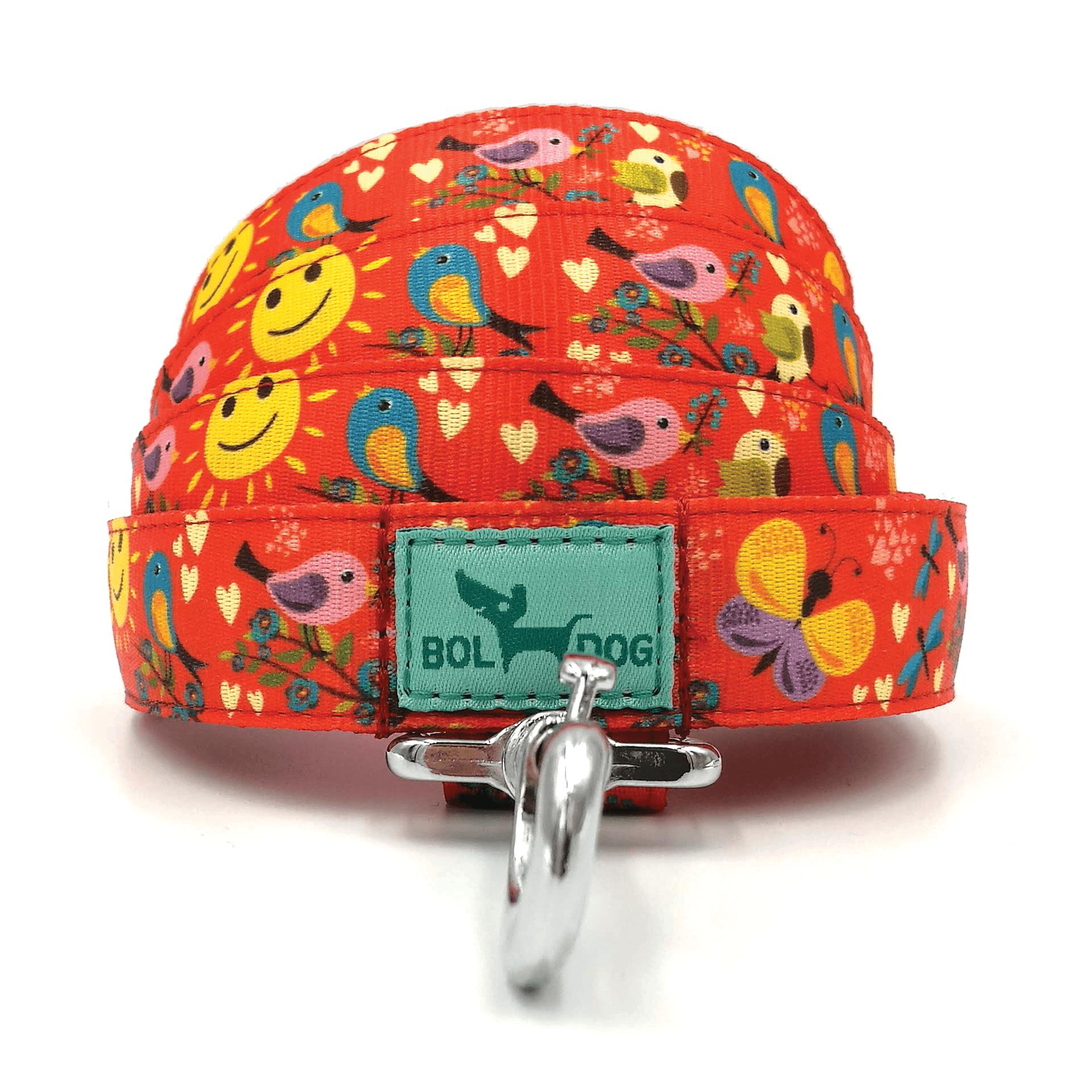Madár mintás narancs textil kutya póráz Bol-Dog