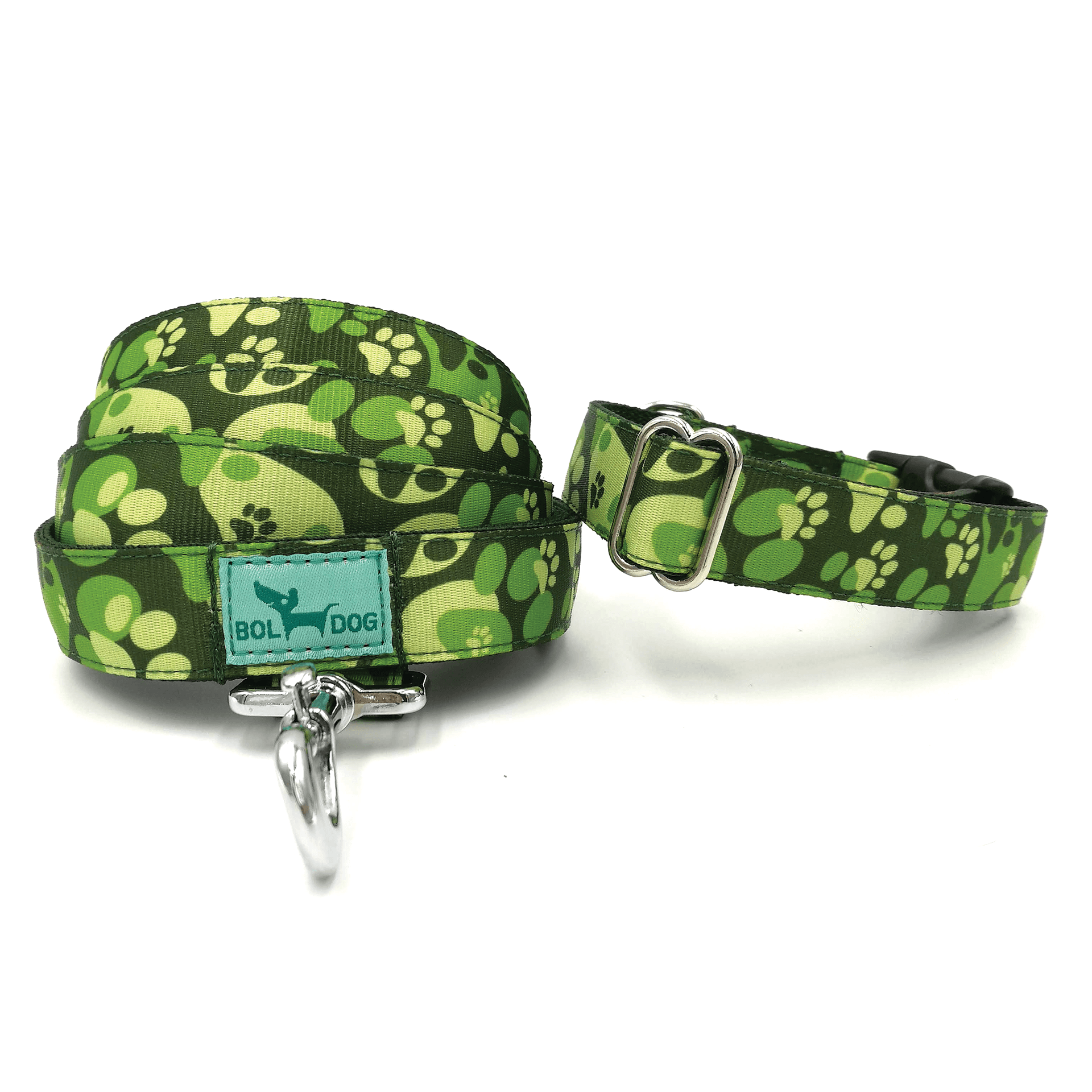 Soldier pattern textile dog collar and leashes