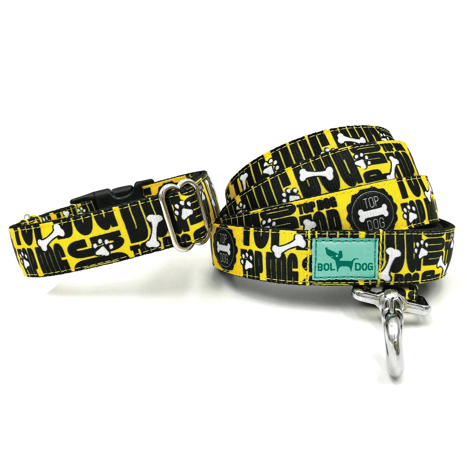 topdog blue and black patterned textile dog collar and leash set