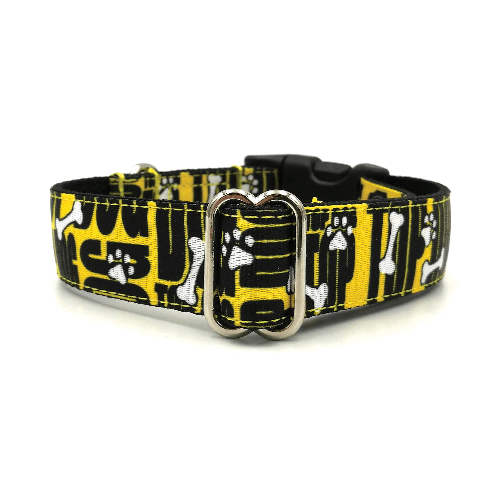 Topdog feliratos sárga-fekete  textil kutya nyakörv