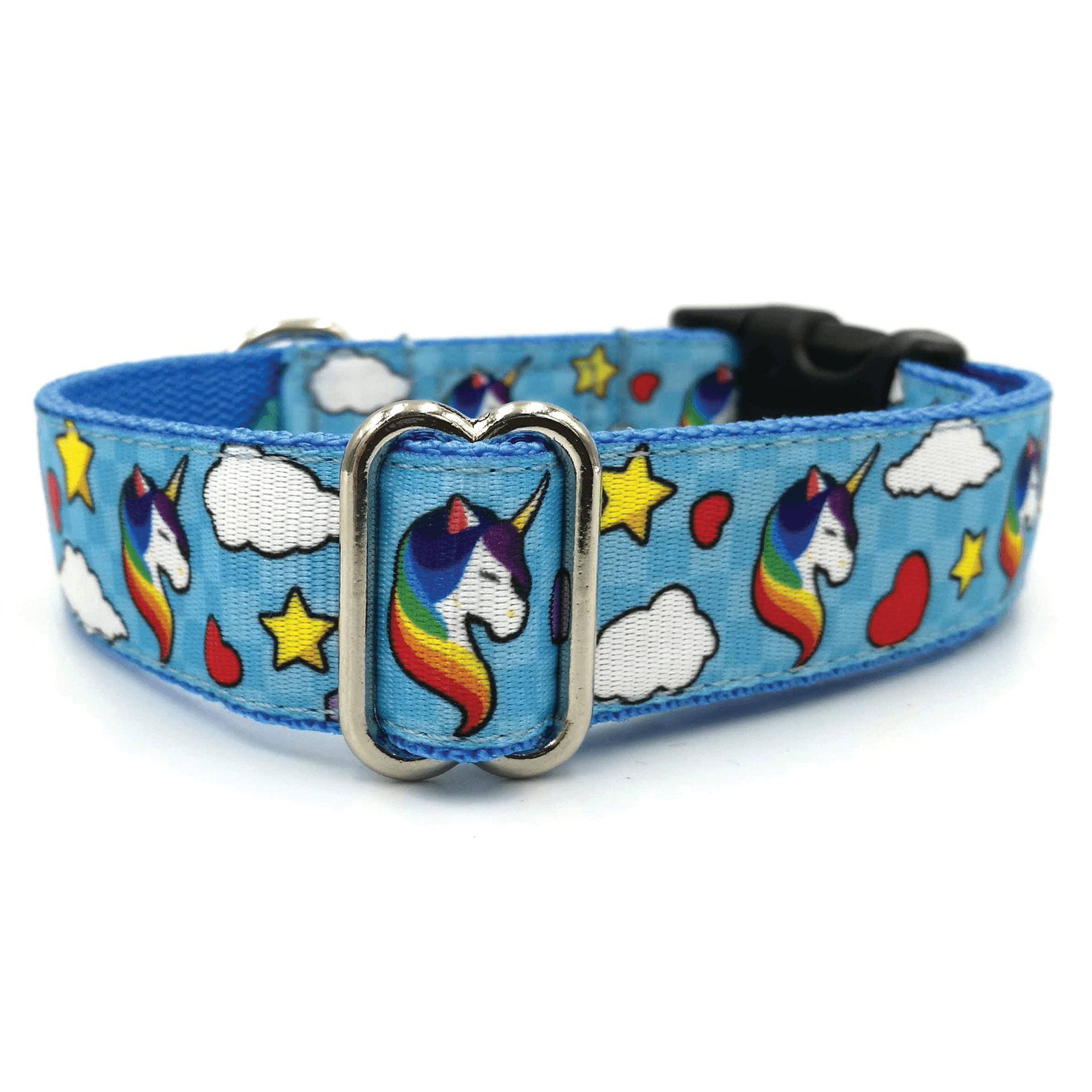 Unicorn Blue dog collar