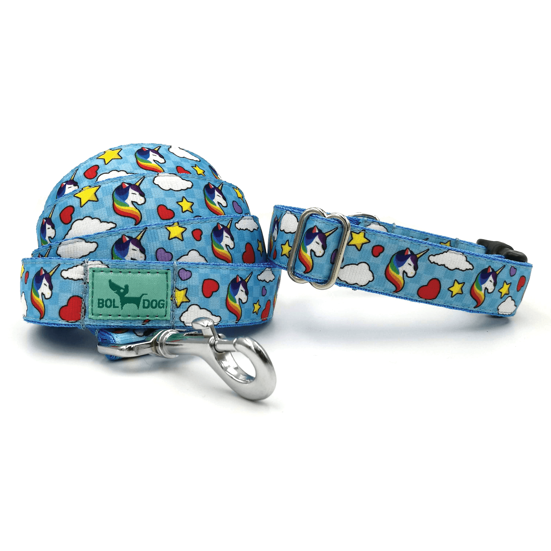 Unikornis kutya póráz és nyakörv szett  kék