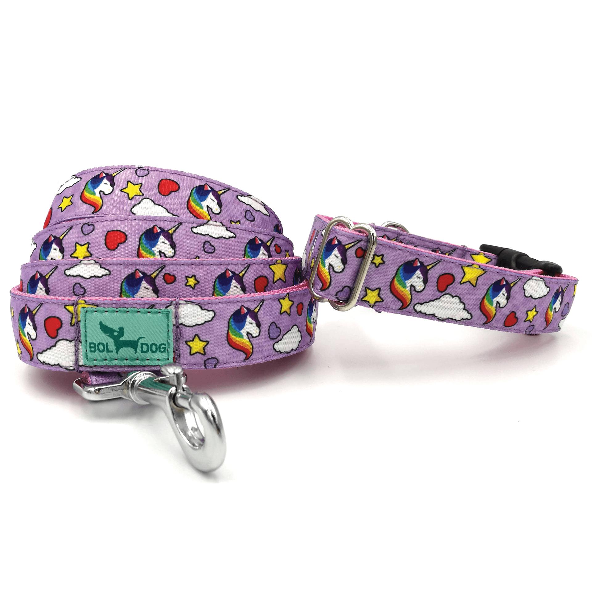 Unikornis kutya póráz és nyakörv szett  lila