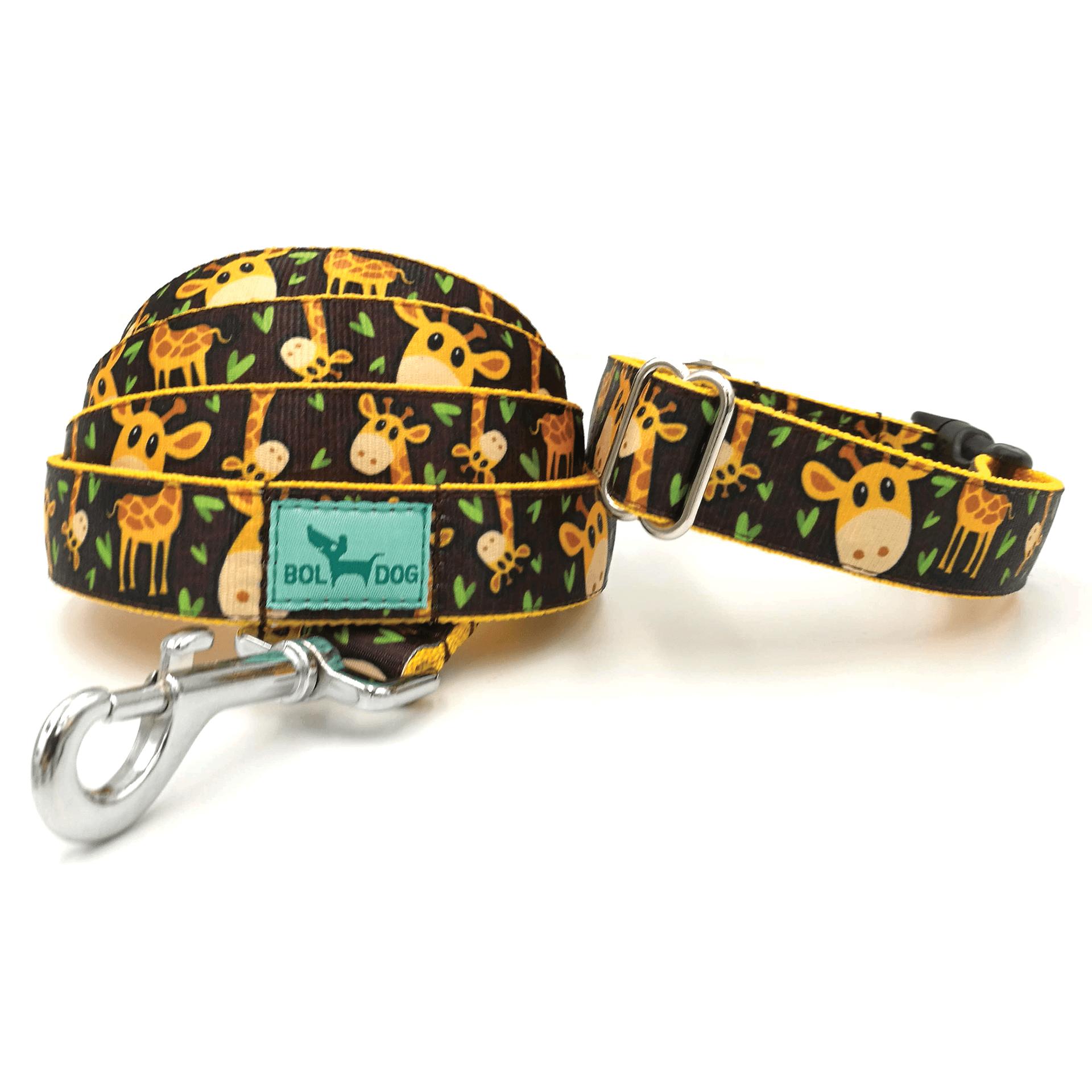 Zsiráf mintás kutya nyakörv és póráz