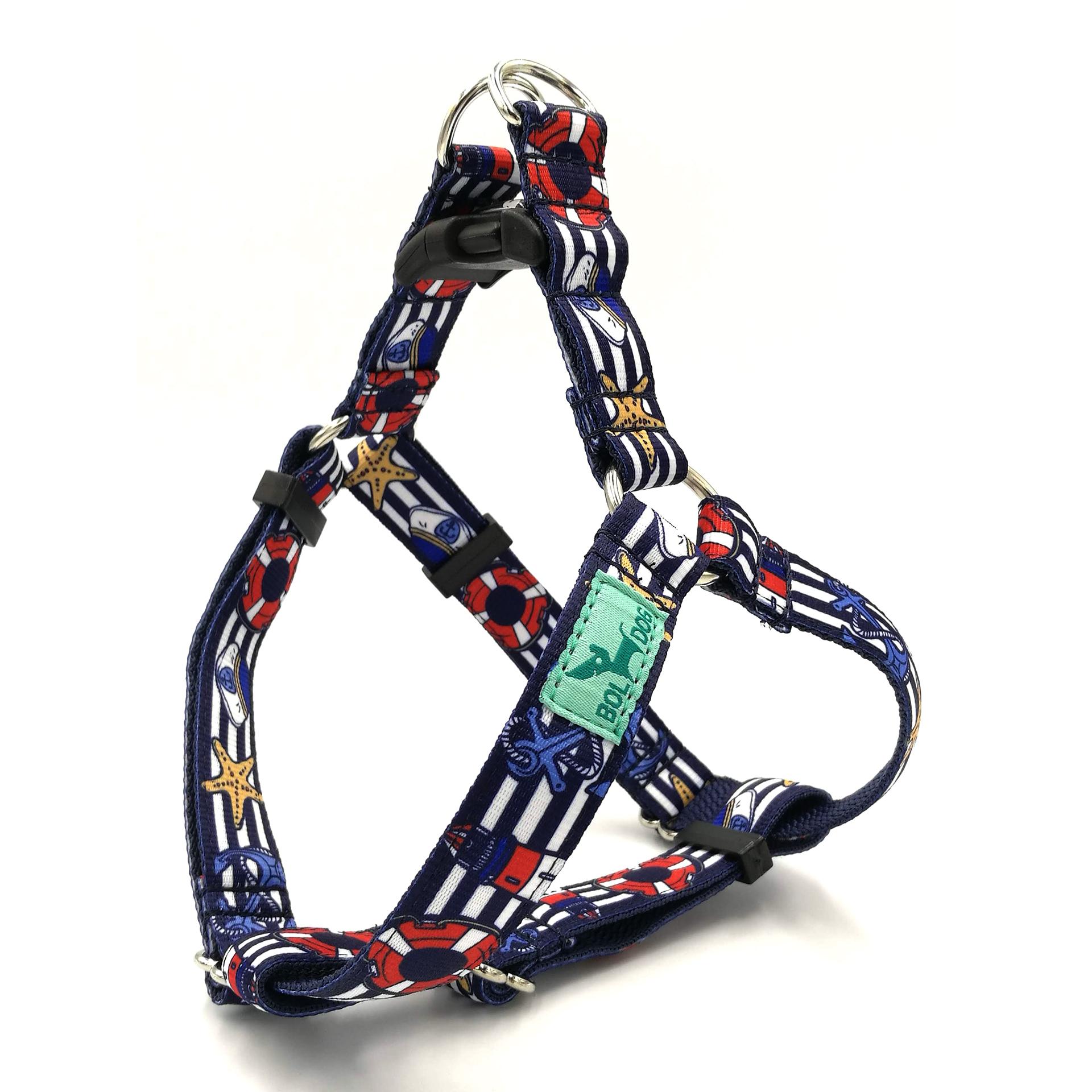 Marine blue dog harness