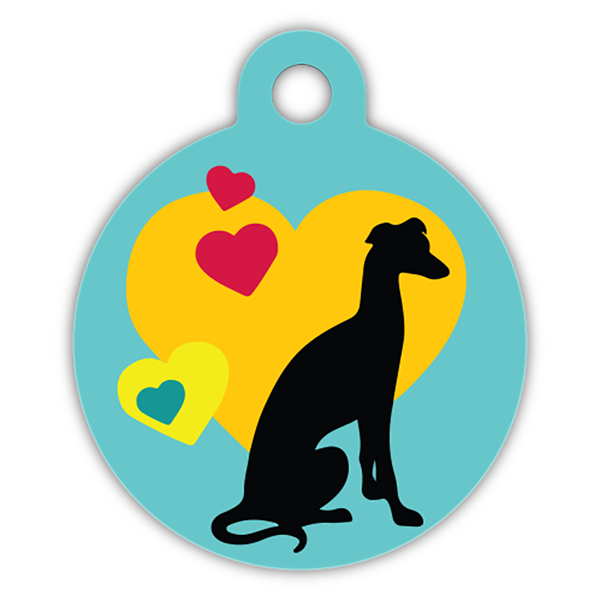 Whippet dog pattern dog ID tag