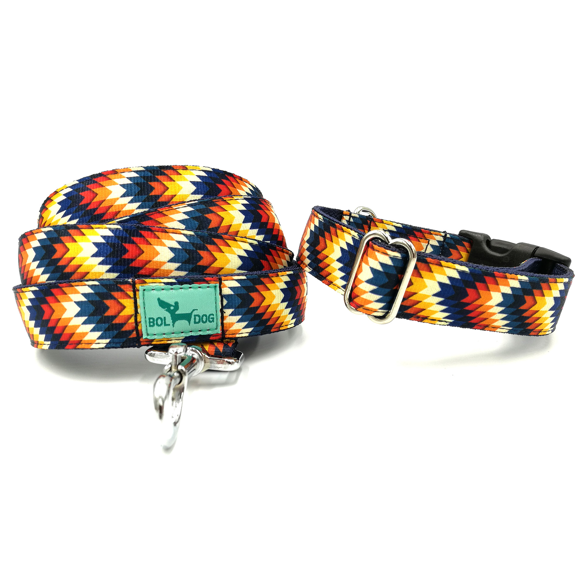striped leash and collar set