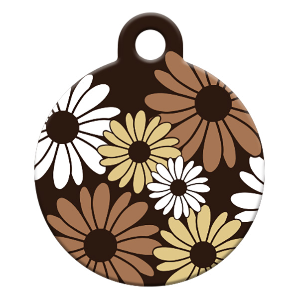 Brown and beige flower id tag